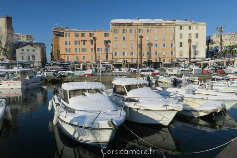Le port Tino Rossi sous la neige