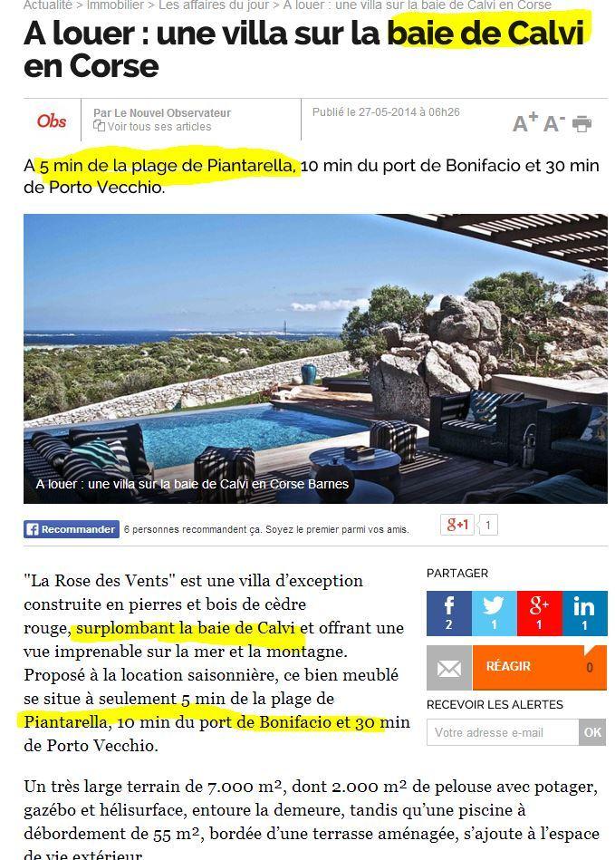Location de villa en Corse, vue très panoramique ou soucis géographique