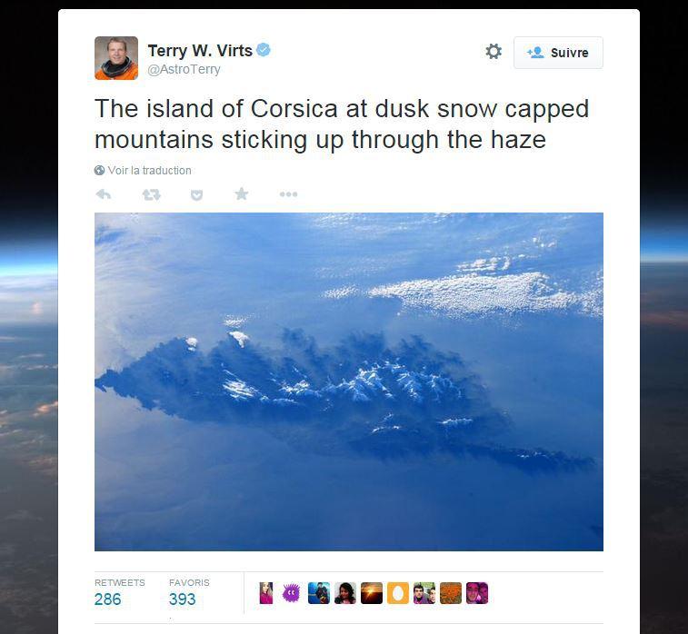 La Corse sur le twitter de @AstroTerry